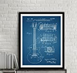 electric guitar drawing - Gibson Les Paul Guitar Patent Art Print Electric Guitar Patent Wall Art Print Music Wall Decor Home Decor Wall Hanging
