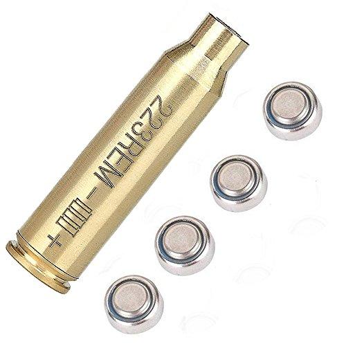 E-link Bore Sight Laser Red Dot Boresighter 223 5.56mm Laser Sight Rem Gauge with 4 Batteries for Rem Gauge Caliber Pistols Rifles