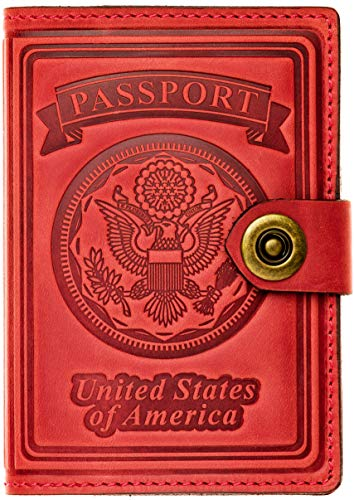 Villini - Leather RFID Blocking US Passport Holder Cover ID Card Wallet - Travel Case (Red Vintage)