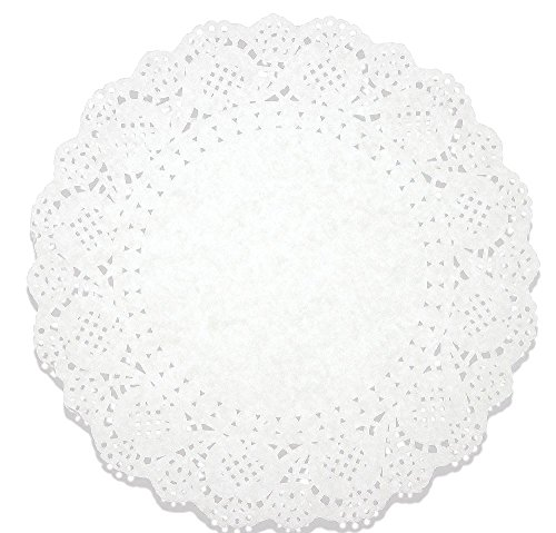 Lace Doilies Paper 250 Pack Set- Decorative Round Placemats Bulk, Table Runner, Cake Box Liners for Cakes, Desserts, Baked Treat Display, Ideal for Weddings, Tableware Decoration - White, 10.5 Inches ()
