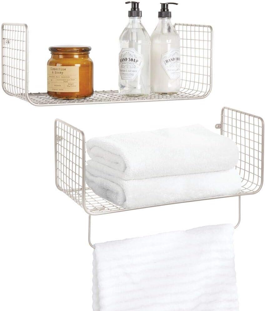 mDesign Metal Wire Farmhouse Wall Decor Storage Organizer Shelving Set - 1 Shelf with Towel Bar for Bathroom, Laundry Room, Kitchen, Garage - Wall Mount, 2 Pieces - Satin