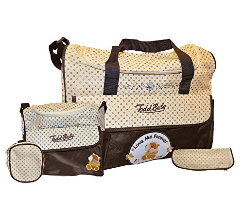 Weekend Patchwork Tote (Todd Baby Brand New 5pc Bottle Food Bag Holder Set Diaper Nappy Changing Stylish Designed Strap Baby-Care Shoulder Bag (Brown))