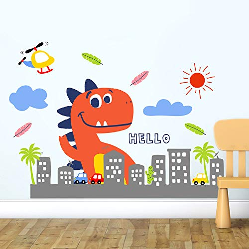 HaokHome W-10603 Wall Decal Cute Dinosaur Wall Sticker for Kids Room Children Bedroom Living Room