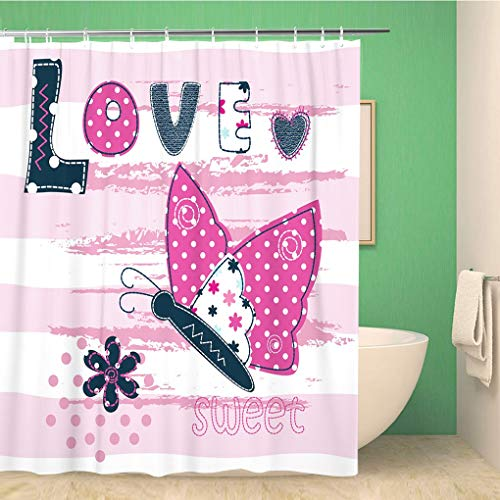 Awowee Bathroom Shower Curtain Blue Jeans Baby Butterfly for Pink Abstract Animal Cartoon Polyester Fabric 66x72 inches Waterproof Bath Curtain Set with Hooks