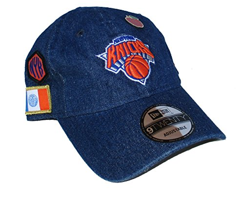 New York Knicks New Era APPLE PIN Multiple Logos Adjustable One Size Fits Most Hat Cap - Blue Denim