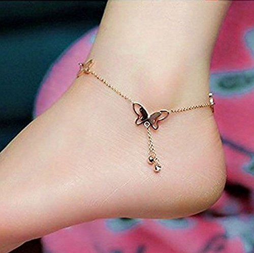 1pcs Lucky Women Butterfly Charm Gold Foot Anklet Bracelet Chain Hot Cute