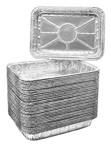 Grill Outdoor Inserts (Aluminum Foil Grill Drip Pans - Bulk Package of Durable Cooking Trays – Disposable BBQ Grease Pans – Made in USA - Great for Baking, Roasting, and Cooking - Standard Size 8.5