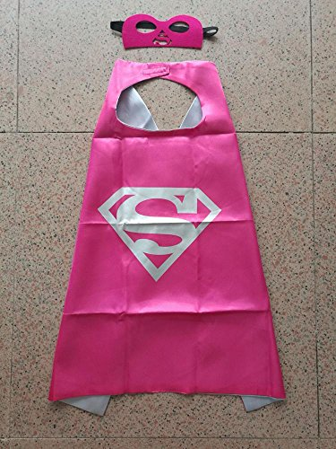 Superhero Halloween Party Cape and Mask Set for Kids 15+ Styles! (Supergirl 2 (Hot Pink)) (Female Marvel Characters Costumes)