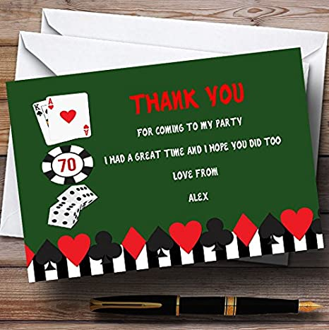 Amazon Com Green Casino Personalized Birthday Party Thank You