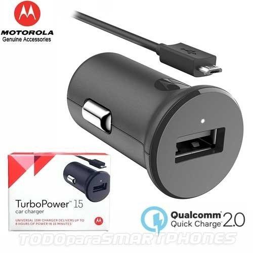 Motorola CAMOTUPO15N Cargador De Auto Turbo Power 15 Negro, Color Negro