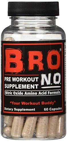 BRO NO Pre Workout Supplement Pills - Nitric Oxide Amino Aci