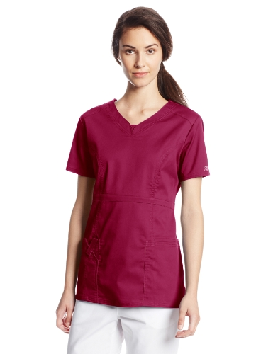 Cherokee Women's Workwear Scrubs Core Stretch Jr. Fit V-Neck Top, Wine, 2X-Large Collection V-neck Scrub Top