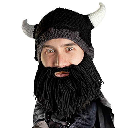 Beard Head Viking Looter Beard Beanie - Funny Knit Horned Hat and Fake Beard Black