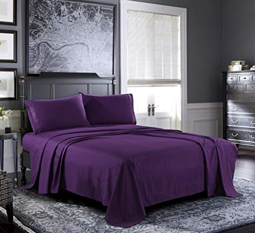 Bed Sheets - Twin Sheet Set [4-Piece, Purple] - Hotel Luxury 1800 Brushed Microfiber - Soft and Breathable - Deep Pocket Fitted Sheet, Flat Sheet, Pillow Cases