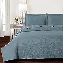 Mellanni Bedspread Coverlet Set Spa-Blue - BEST QUALITY Comforter Oversized 3-Piece Quilt Set (Full / Queen, Spa Blue)