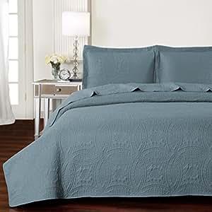 Amazon Com Mellanni Bedspread Coverlet Set Spa Blue