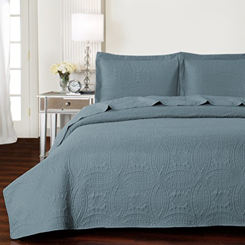 Mellanni Bedspread Coverlet Set Spa-Blue - BEST QUALITY Comforter Oversized 3-Piece Quilt Set (King / Cal King, Spa Blue) (Blue Quilt Sets)