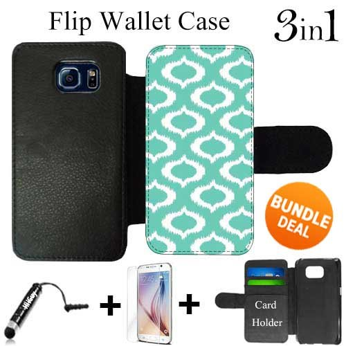 Ikat Mint Custom Galaxy S6 Cases Flip Wallet Case,Bundle 3in1 Comes with HD Tempered Glass/Universal Stylus Pen by innosub