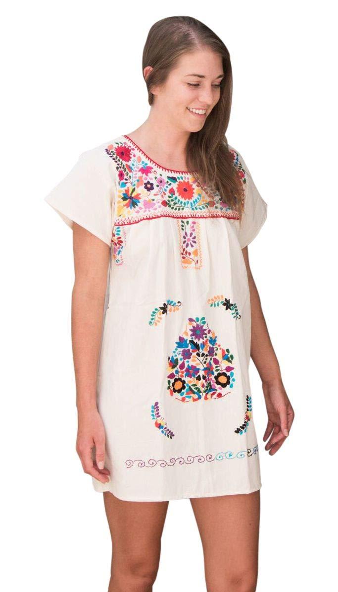 Liliana Cruz Embroidered Mexican Peasant Half Mini Short Dress Tunic (Natural Cotton Size Small)