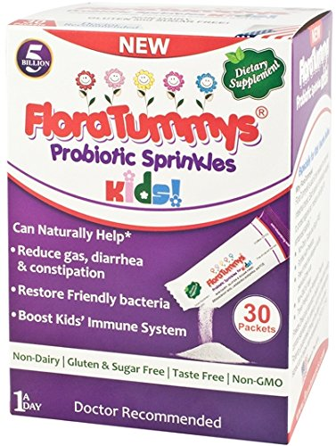 51zFYjNl8XL - FloraTummys Probiotic Sprinkles for Kids: 30 Taste-Free, Easy-to-Use Powder Packets, Non-Dairy, Gluten & Sugar-Free, Non-GMO. 5 Billion CFU, L. Acidophilus, B. Lactis & Prebiotics