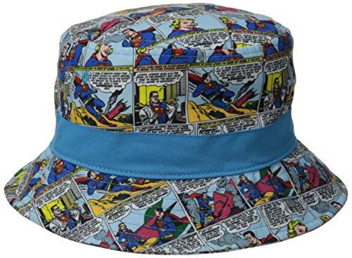 Superman Men's Microfiber Comic Strip Sublimated Print Bucket Hat, Royal One -
