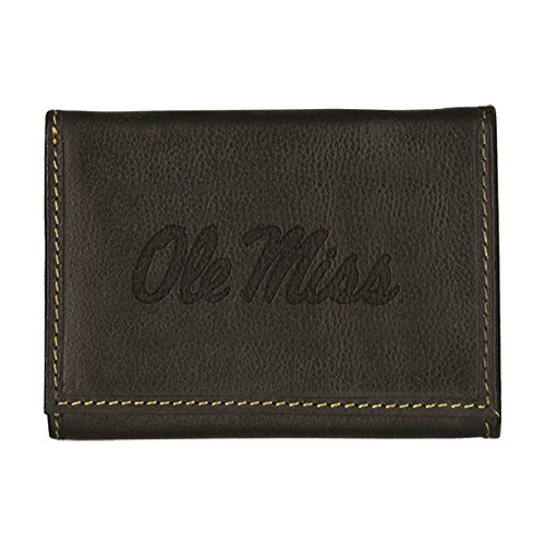 University of Mississippi Contrast Stitch Trifold Leather Wallet (Black)