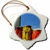 3dRose RinaPiro - Farmers Market - Pickled tomatoes and cucumbers. - 3 inch Snowflake Porcelain Ornament (orn_266055_1)