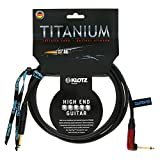 Klotz TIR0450PSP Titanium Guitar Cable with SilentPLUG, ¼-Inch Straight to Right Angle, 15ft, 15 ft. (