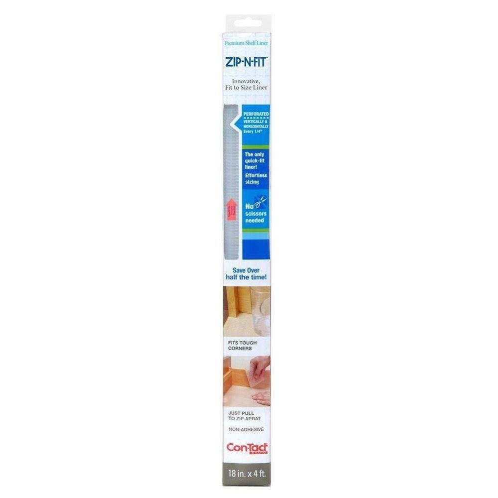 Con-Tact Brand Zip-N-Fit Premium Non-Adhesive Shelf and Drawer Liner, 18-Inches by 4-Feet, Ribbed Clear 04F-CZ8S01-06AZ