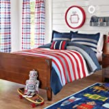 Better Homes and Gardens Kids' Red Stripes Comforter Set Includes Comforter, Sham and Decorative Pillow, Full/Queen