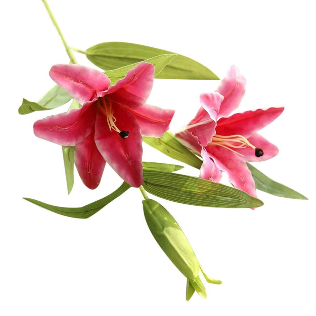 Whitegeese 造花 シルクカラー ユリの花 ウェディングブーケ パーティー ホームデコレーション フラワーアレンジングテーブルフラワー ピンク B07GKFNWK5 ホットピンク
