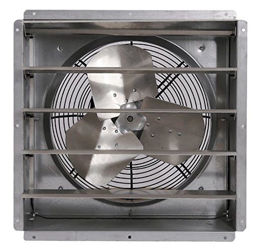 Triangle Fans 12 Inch 1 Speed Wall Exhaust Fan with Automatic Shutters 1580 CFM Direct Drive (Galvanized Direct Drive Fan)