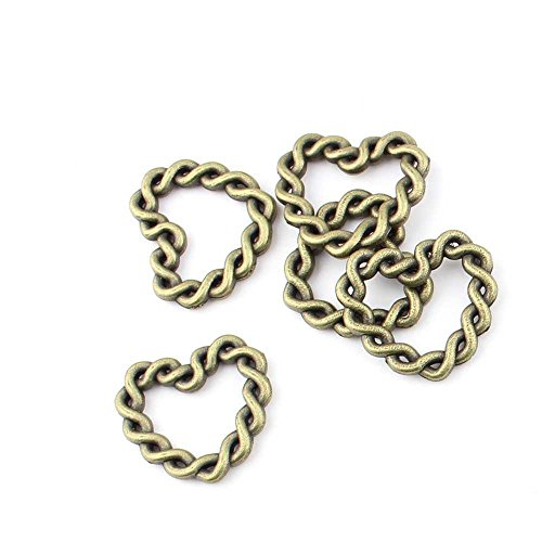 (40 pieces Anti-Brass Fashion Jewelry Making Charms 2745 Love Heart Twisted Circle Wholesale Supplies Pendant Craft DIY Vintage Alloys Necklace Bulk Supply Findings)