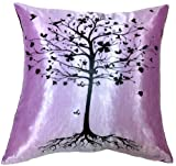 Artiwa SALE 70% OFF Modern Sofa Bed Decorative Silk Pillowcase Violet with Tree 18″ x 18″ – Gift for Christmas Recommend For Sale