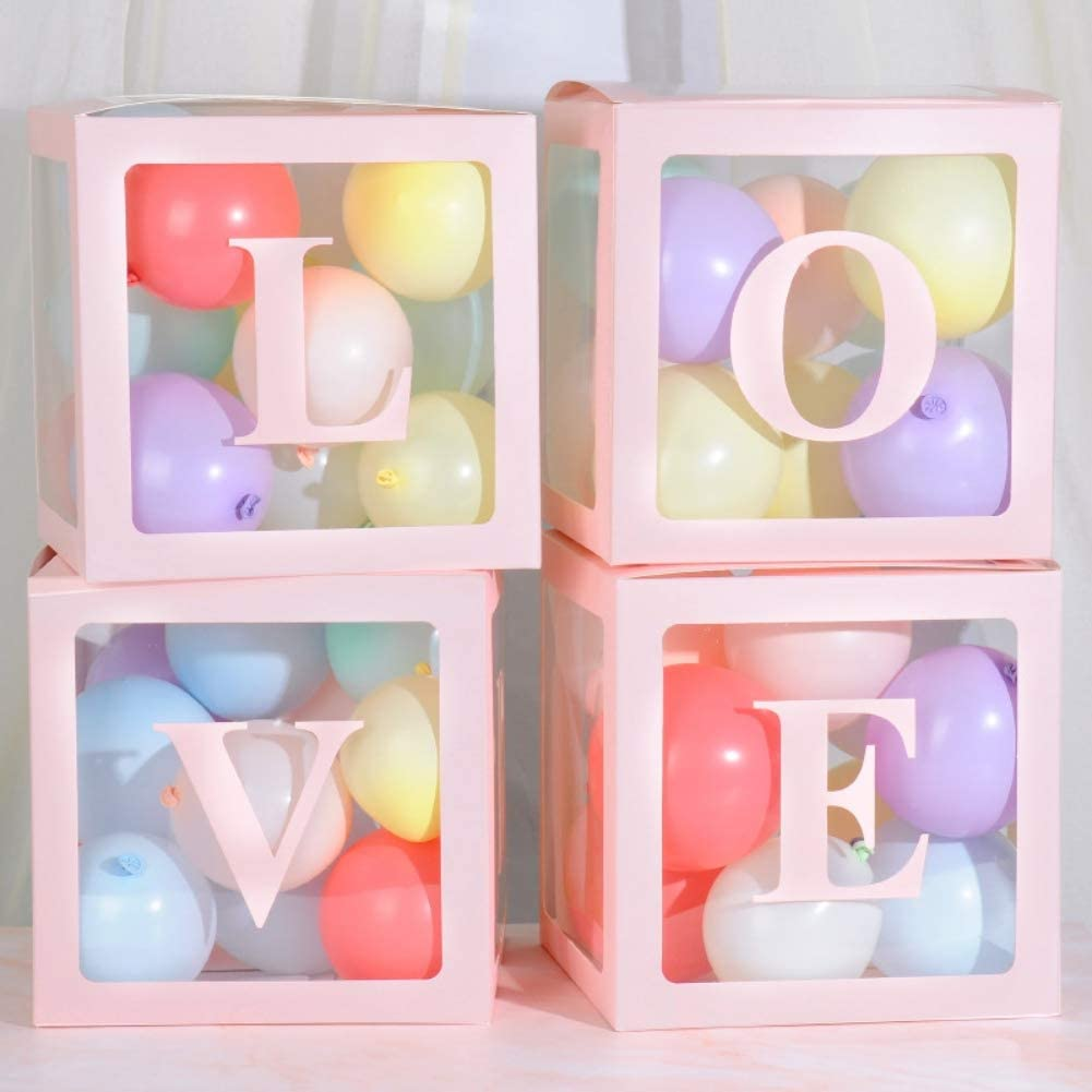 Angmile Balloon Decoration Box Letter Love//Baby Transparent Gift Boxes 4Pcs//Set Kid Birthday Baby Shower Party Decoration