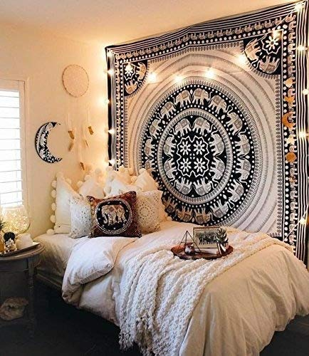 GANESHAM Black & White Elephant Mandala Hippie Tapestry Queen Indian Throw Beach College Dorm Bohemian Wall Hanging Boho Bedsheet Adorable Bedspread Quilt Coverlet Blanket (Christmas Decorative)