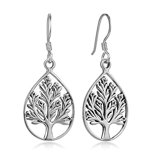 (925 Oxidized Sterling Silver Open Filigree Tree of life Teardrop Shaped Dangle Hook Earrings 1.4