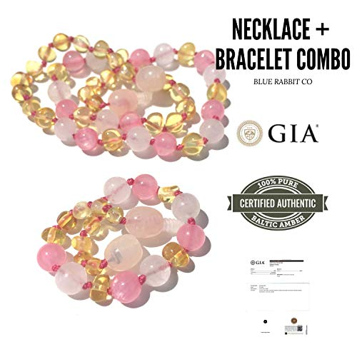 Jade Necklace Amber - Girls Amber Teething Necklace + Bracelet or Anklet for Babies Set | Stop Drooling & Fussiness from Teething Babies | GIA Certified 100% Pure Baltic Amber (Baroque Lemon/Pink Jade/Rose Quartz Combo)