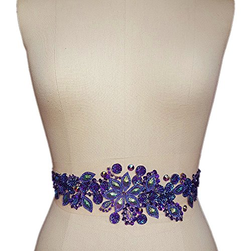 Fashion! Pure Handmade Bright Crystal Patches Sew-on Purple Rhinestones Applique with Stones Sequins Beads DIY for Wedding Dress Decor Accessory 3.9x14.2″ Belt Waist Decoration