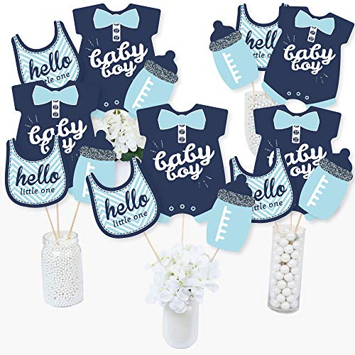 - Hello Little One - Blue and Silver - Boy Baby Shower Party Centerpiece Sticks - Table Toppers - Set of 15