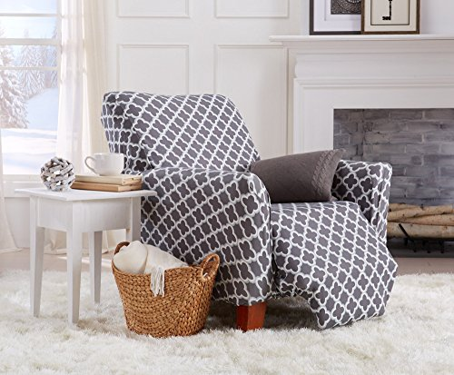 Home Fashion Designs Form Fit, Slip Resistant, Stylish Furniture Cover/Protector Featuring Lightweight Stretch Twill Fabric. Brenna Collection Basic Strapless Slipcover. By (Recliner, Charcoal) by Home Fashion Designs