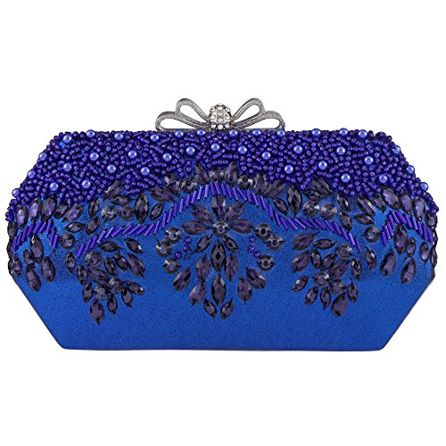 Bagood Women's Acrylic Embroidery Beaded And Sequined Evening Bag Wedding Party Handbag Shoulder Clutch Purse Royal (Beaded Decorative Evening Clutch Purse)