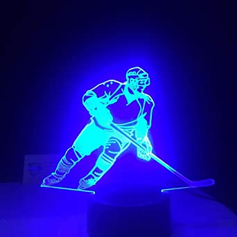 3D Led Ice Hockey Player Table Lamp Usb Visual Night Night Lights For Kids Gifts Baby Sleeping Lighting Sport Decorusb Rechargeable Athletes Sport Guy Boys Girls Present Energy Saving Decor For Office: