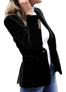 WAWAYA Womens Ruffle One Button Long Sleeve Solid OL Blazer Jacket Coat