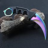 Stainless Steel Camping Hunting Knife Tactical Knife Karambit --Fixed Blade --With Rope (mutil color)