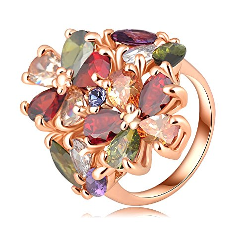 18k Gold Plated Flower Leaves Multi-Color Zirconia Crystal Az0290r Ring (Sizes 7)