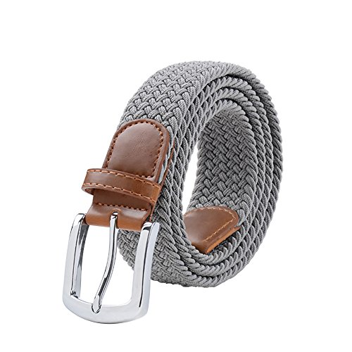 Maikun Braided Elastic Stretch Woven Belt with Leather Tip Nickle Pin Buckle 41 45 49in Christmas Gifts