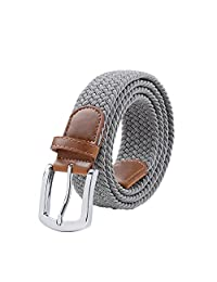 Maikun Braided Elastic Stretch Woven Belt with Leather Tip Nickle Pin 49in Buckle Grey