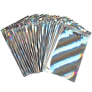 100-pack Smell Proof holographic Bags with zip lock Resealable Mylar packaging Bags decorative ziplock baggies for jewelry lip gloss candy etc (color-1, 2.75''x3.93'')