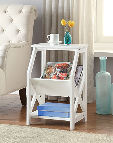 White Finish Wooden X-Design Chair Side End Table Magazine Holder with 3-tier (Magazine Storage Table)